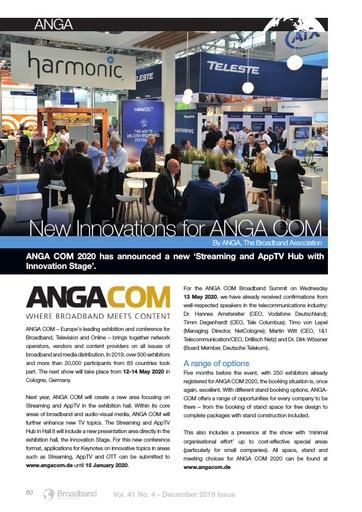 New Innovations for ANGA COM