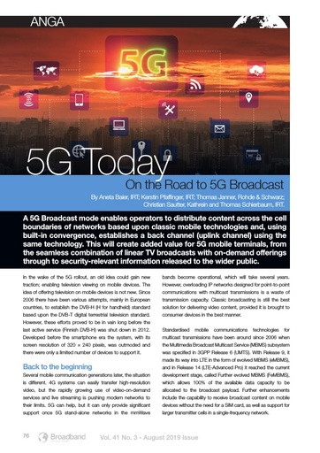 p76 - 5G today - On the Road to 5G Broadcast