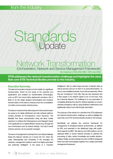 Standards Update – Network Transformation