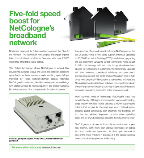 Five fold speed boost for NetCologne broadband network