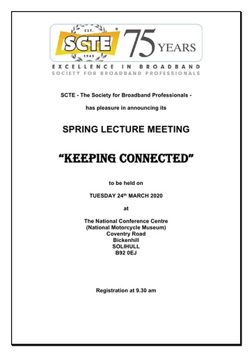 Spring Lecture meeting agenda and booking form