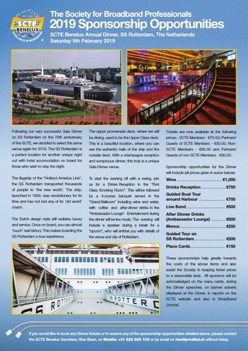 SCTE Benelux Dinner Sponsorship Leaflet
