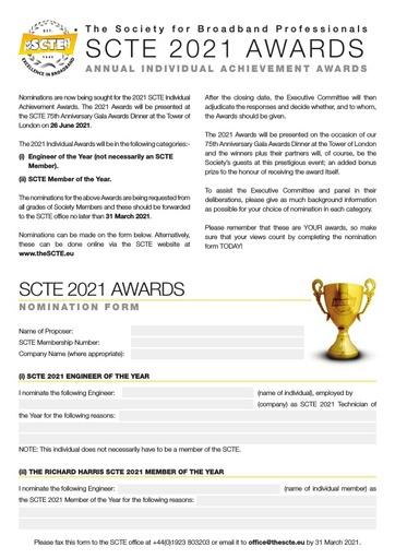 SCTE Individual Achievement Awards Nomination Form 2021