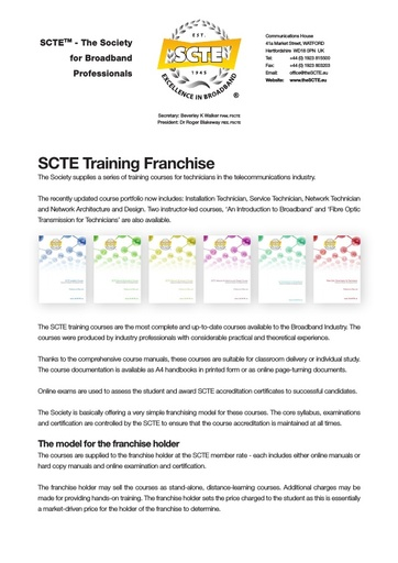 SCTE Training Franchise Leaflet