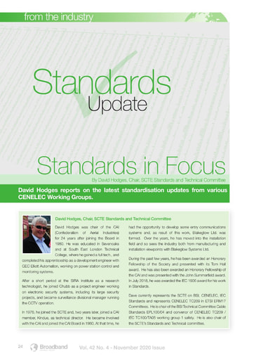 Standards in Focus: David Hodges on the latest standardisation updates from various CENELEC Working Groups