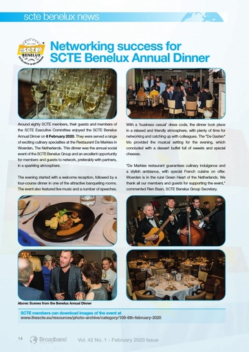 Networking success for SCTE Benelux Annual Dinner