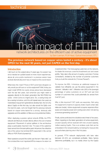 TECHNICAL - The Impact of FTTH, by STL