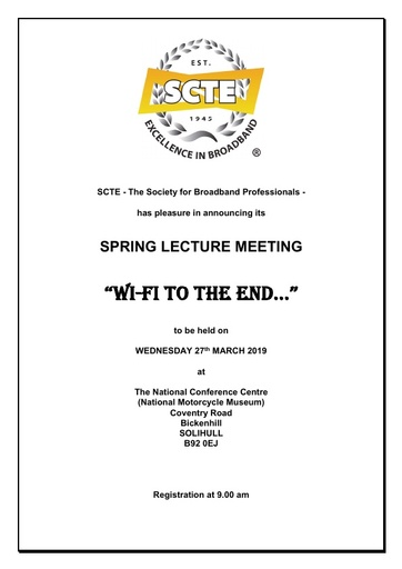 SCTE Spring Lecture Meeting 2019 Agenda and Booking form