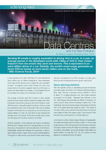 SCTE Long Read - Data Centres and the New Pollution - By Melissa Cogavin